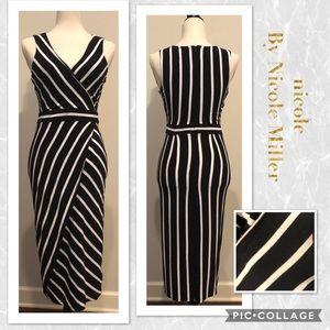 Nicole by Nicole Miller Striped Faux Wrap Dress
